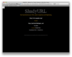 Shady URL short result