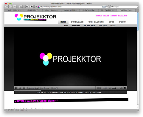 Projekktor Zwei - Free HTML5 video player - home